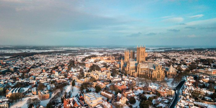 Snow covering Lincoln at Christmas in 2019